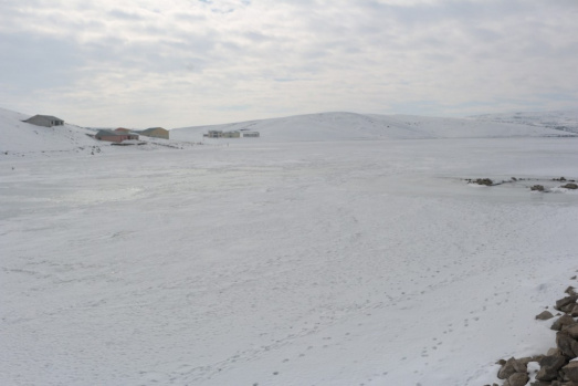 Ağrı Yazıcı Barajında Buzlar Arasında ayakta duran Minare
