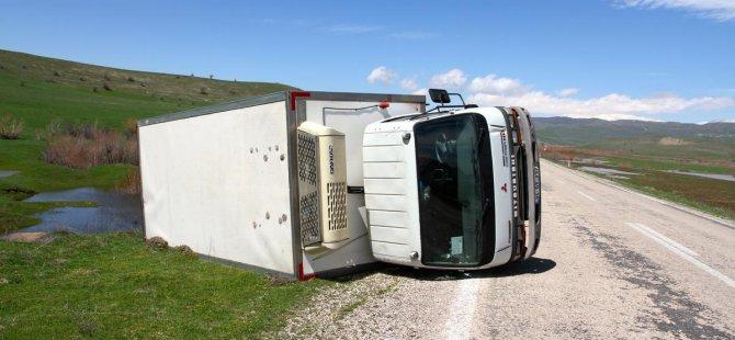 Muş'ta kamyonet şarampole devrildi