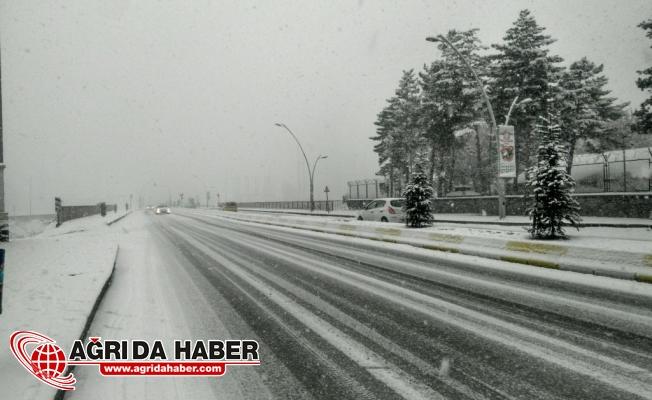Ağrı'da Şiddetli Yağan Kar Şehri Beyaza Bürüdü