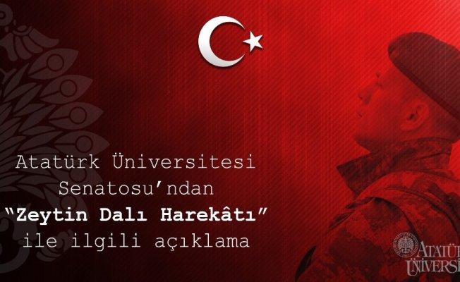 """Atatürk Üniversitesi Senatosu'ndan """"Zeytin Dalı Harekâtı"""" açıklaması"""