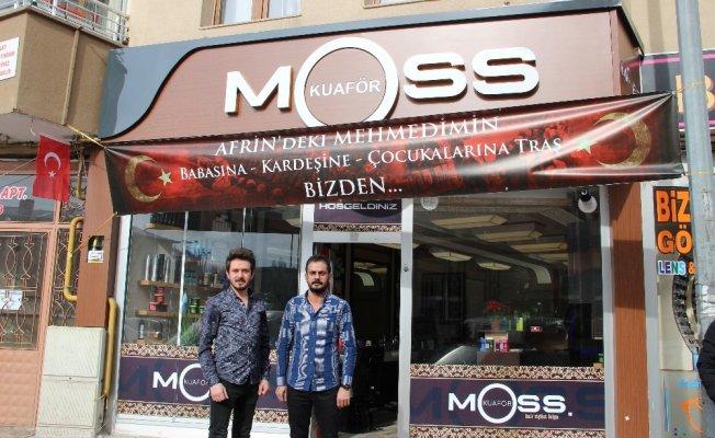 Afrin'deki Mehmetçiklerin ailelerine ücretsiz tıraş