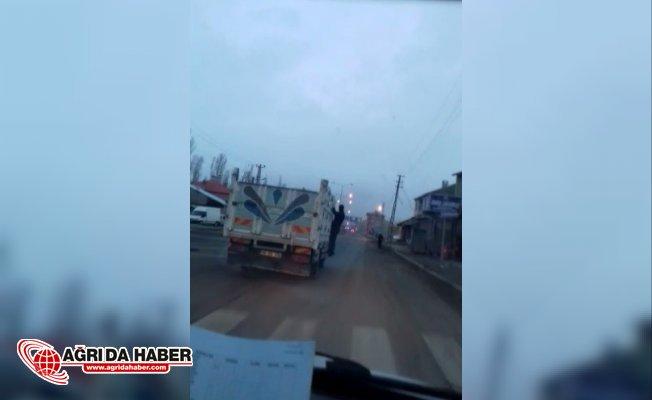 Ağrı'da tehlikeli yolculuk