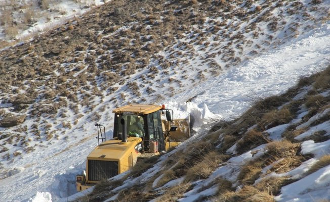 Van Başkale'de karla mücadele çalışması