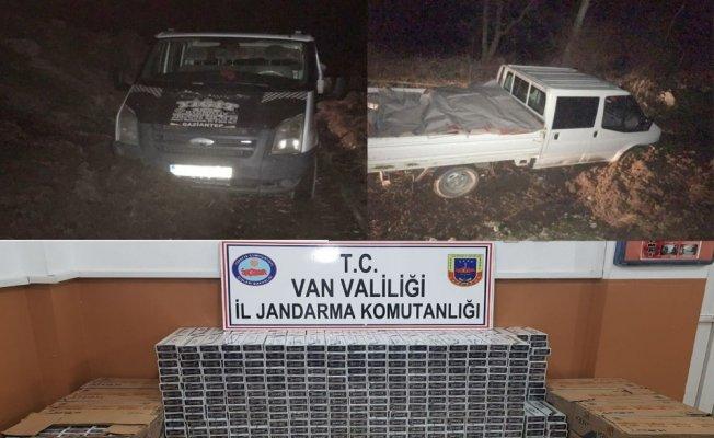 Jandarma ekiplerinin üzerine sürülen araçta kaçak sigara çıktı