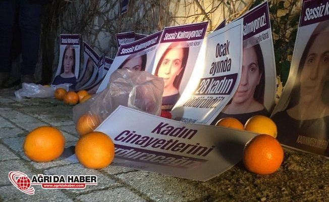 Kadın Cinayetlerine İstanbul Şişli'de portakallı protesto