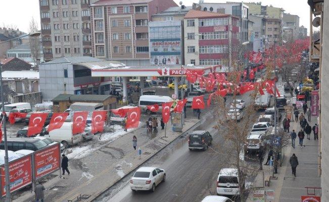 Kars'ta Zeytindalı Harekatına bayraklı destek