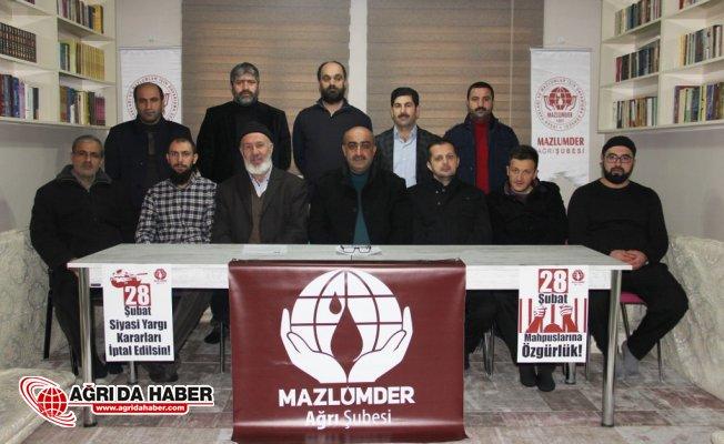 Mazlumder Ağrı : 28 Şubat Mahpuslarının Özgürlük Talebi Hepimizin İmtihanıdır!