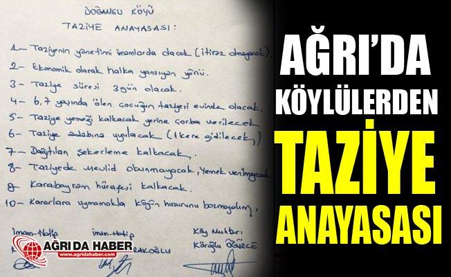 """Ağrılı Köylüler """"Taziye Anayasası"""" Çıkardı"""