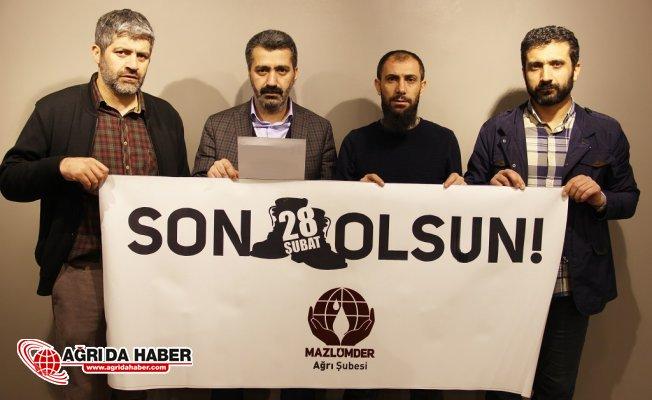 Mazlumder Ağrı Şubesi 28 Şubat Mağdurlarının serbet bırakılması talebini yeniledi