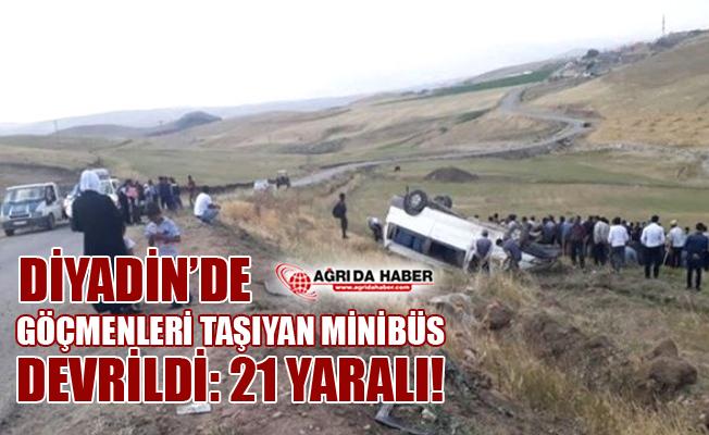 Göçmenleri Taşıyan Minibüs Devrildi: 21 Yaralı!