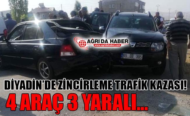 Diyadin'de Zincirleme Trafik Kazası! 3 Kişi Yaralandı!