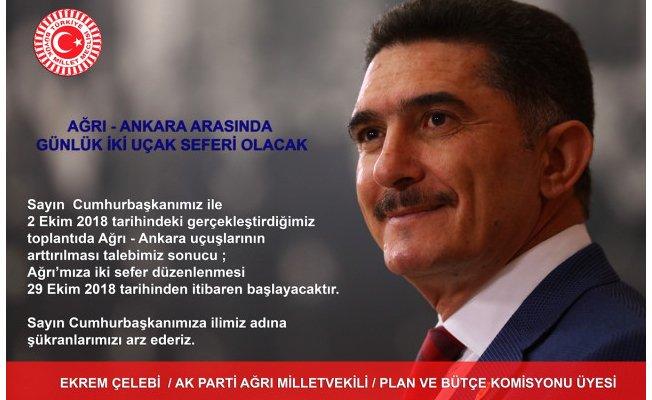 Ağrı - Ankara Uçak Seferleri Arttırılıyor