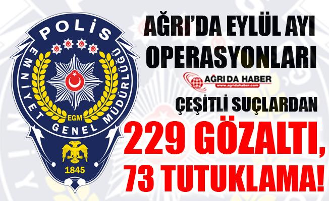 Ağrı İl Emniyet Müdürlüğü Eylül Ayı Çalışmaları! Toplamda 229 Gözaltı!