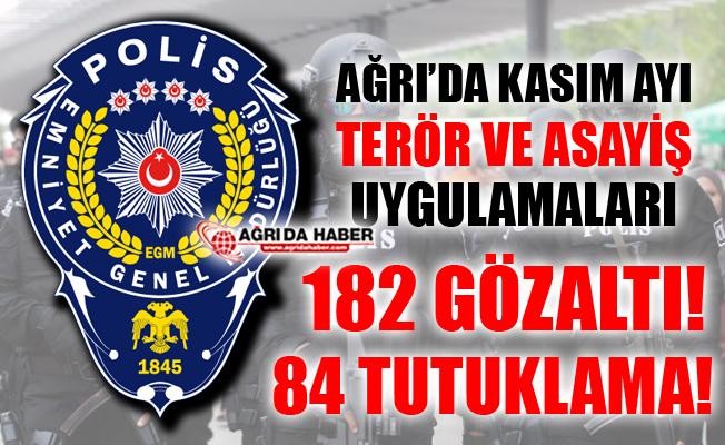 Ağrı'da Kasım Ayı Terör ve Asayiş Uygulamaları! 84 kişi Tutuklandı!