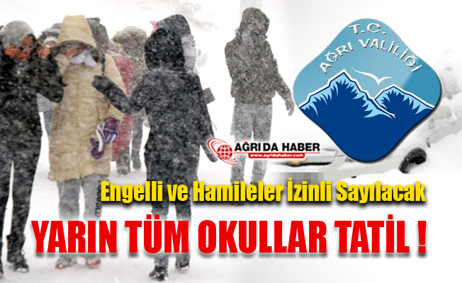 Ağrı Merkez ve Köyler Okullar Yarın Tatil  9 Ocak 2019