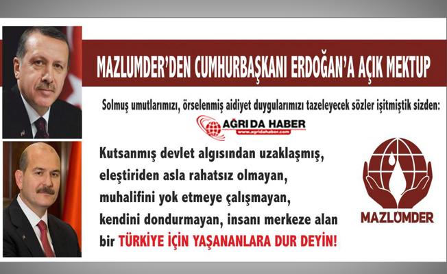 Mazlumder Cumhurbaşkanı Erdoğan'a Açık Mektup Yazdı