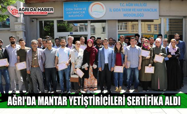 Ağrı'da Mantar Yetiştiriciliği Kursunda Başarılı olanlara Sertifikaları verildi