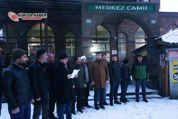 Ağrı'daki STK'lar Mescid-i Aksa için Sabah Namazında Açıklama Yaptı