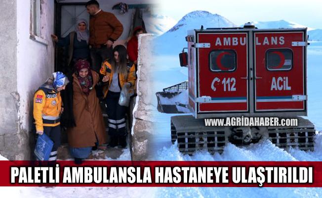 Ağrı'da sağlık ekipleri paletli ambulans ile hamile kadın için seferber oldu