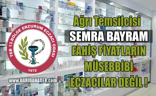 13. Bölge Erzurum Eczacı odası Ağrı il Temsilcisi Semra Bayram'dan Açıklama