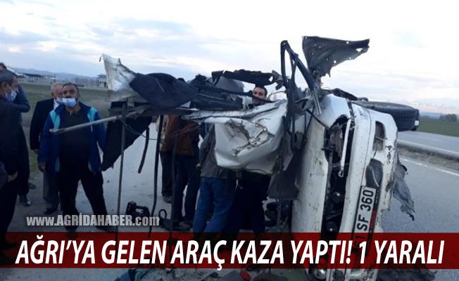 Ağrı'ya gelen araç Pasinler'de kaza yaptı: 1 yaralı