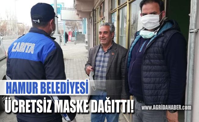 Hamur Belediyesi Halka Ücretsiz Maske Dağıttı