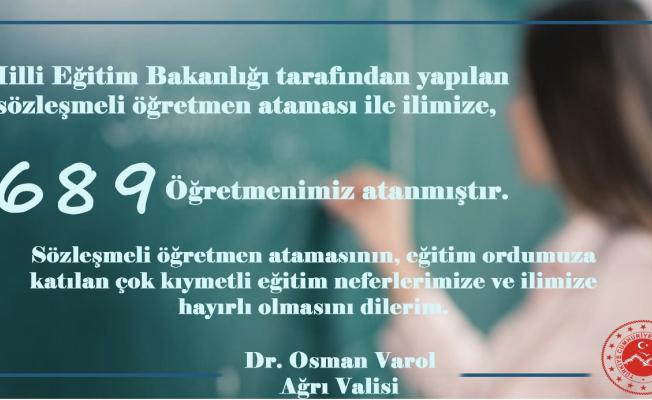 Ağrı'ya 689 Sözleşmeli Öğretmen Atandı