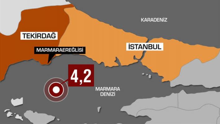 İstanbul'da Korkutan deprem! 4.2 Sallandı