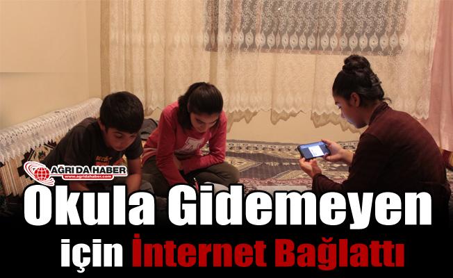 Okula Gidemeyen Çocukları için İnternet Bağlattı
