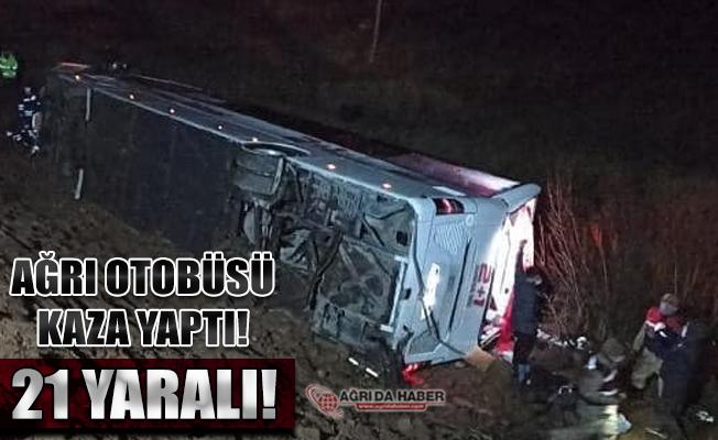 Ağrı'dan İstanbul'a Giden Yolcu Otobüs Devrildi 21 Yaralı