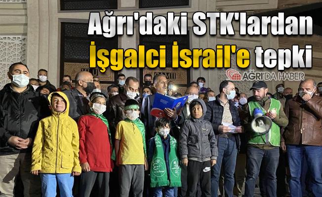 Ağrı'daki STK'lardanİşgalci İsrail'e tepki