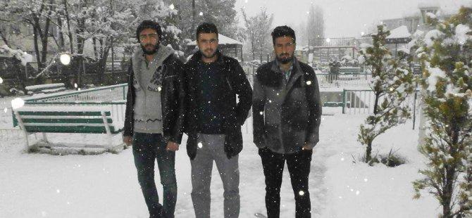 Gürpınar'da kar yağışı