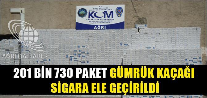 201 BİN 730 PAKET GÜMRÜK KAÇAĞI SİGARA ELE GEÇİRİLDİ