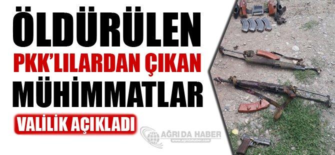 Ağrı Valiliği Öldürülen 3 PKK'lıdan çıkan Mühimmatları Açıkladı