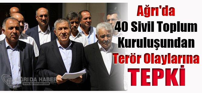 Ağrı'da 40 Sivil Toplum Kuruluşundan Terör Olaylarına Tepki