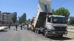 Erzurum Büyükşehir Belediyesinden asfalt çalışması