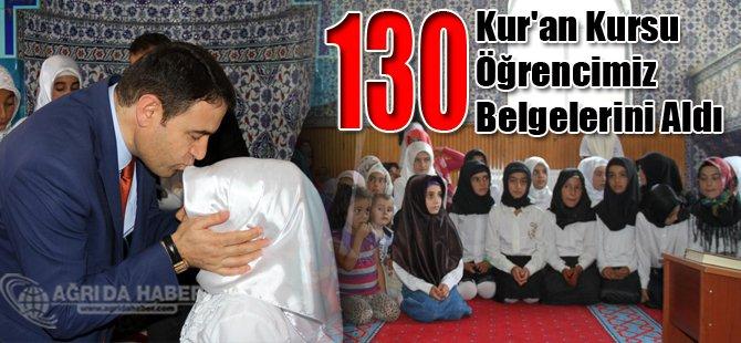 Ağrı'da 130 Kur'an kursu öğrencisi belgelerini aldı