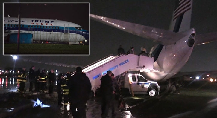Donald Trump'ın uçağı pistten çıktı