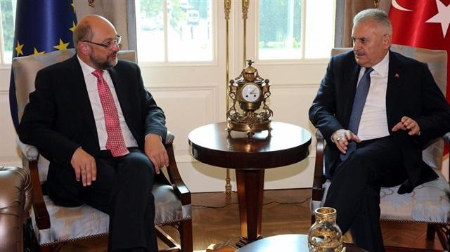Başbakan Yıldırım AP Başkanı Schulz ile görüştü