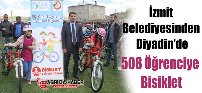 İzmit Belediyesinden Diyadin'de 508 Öğrenciye Bisiklet Hediyesi