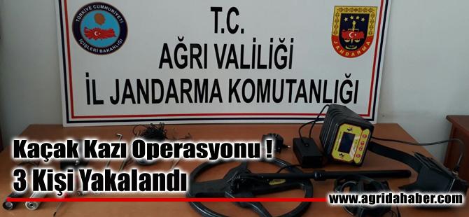 Ağrı'da Dedektörle Kaçak Kazı yapan 3 kişi yakalandı