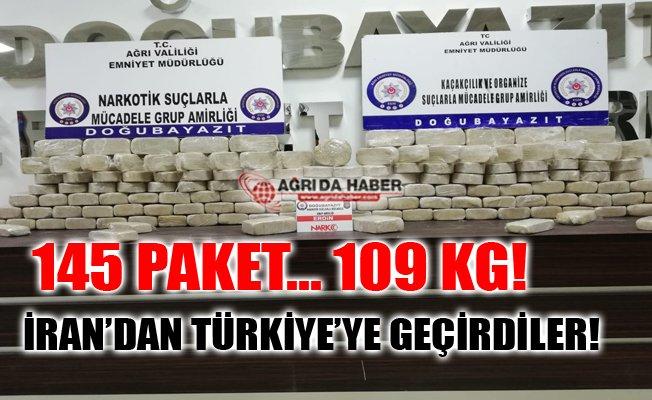 Ağrı Doğubayazıt'ta 145 Paket Halinde Yaklaşık 109 Kilogram Uyuşturucu Yakalandı