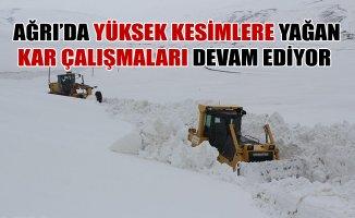 Ağrı'da Yüksek Kesimlerde Yağan Kar Çalışmaları Devam Ediyor