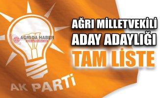 Ağrı Ak Parti Milletvekili Aday Adayları Tam Listesi
