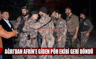 Ağrı'dan Afrin'e Giden 44 Kişilik PÖH Ekibi Geri Döndü