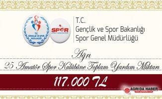 Ağrı'da 25 Spor Kulübüne 117 Bin Tl Nakdi Yardım yapılacak