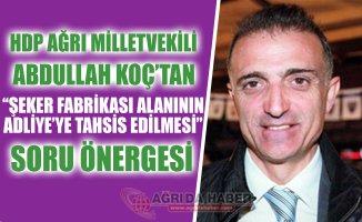 HDP Milletvekili Koç'tan Ağrı Şeker Fabrikası Alanının tahsisine İlişkin Soru Önergesi