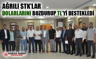 Ağrı'da STK'lar Dolar Bozdurup Ülkeye Destek Amaçlı TL'yi Destekledi