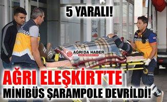 Ağrı Eleşkirt'te Minibüs Şarampole Devrildi! 5 Kişi Yaralandı!