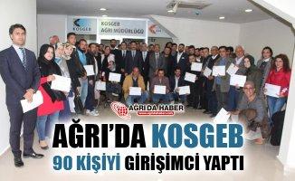 Ağrı'da KOSGEB 90 Kişiye Girişimcilik Sertifikası Verdi